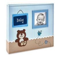 Album Bebê Tecido 200 Fotos 10x15 Ical Baby Azul -