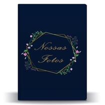 Álbum Casamento Azul Marinho Hexágono Floral 500 Fotos 10x15 - Tudoprafoto