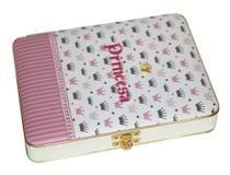 Álbum de Fotos Maleta Luxo Princesa Coroas Rosa Para 100 Fotos 15x21 + Diário - Álbuns E Fotos