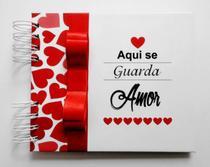 Álbum de fotos para scrapbook Aqui Se Guarda Amor V3 15,7x18,5 presente namorados - Viva O Amor Ateliê