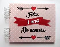 Álbum de fotos para scrapbook Feliz 1 Ano de Namoro 22x26cm presente namorados - Viva O Amor Ateliê