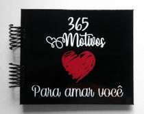 Álbum de fotos scrapbook 365 Motivos Para Amar 15,7x18,5cm presente namorados - Viva O Amor Ateliê