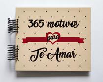 Álbum de fotos scrapbook 365 Motivos para amar v2 15,7x18,5cm presente namorados - Viva O Amor Ateliê