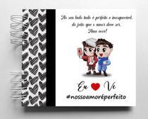 Álbum de fotos scrapbook Amor Perfeito 15,7x18,5cm presente namorados - Viva O Amor Ateliê