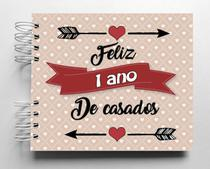 Álbum de fotos scrapbook Feliz 1 Ano de Casados 15,7x18,5cm presente namorados - Viva O Amor Ateliê