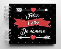Álbum de fotos scrapbook Feliz 1 Ano de Namoro 15,7x18,5cm presente namorados - Viva O Amor Ateliê