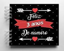 Álbum de fotos scrapbook Feliz 3 Anos de Namoro 15,7x18,5cm presente namorados - Viva O Amor Ateliê
