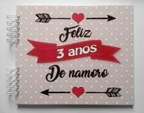 Álbum de fotos scrapbook Feliz 3 Anos de Namoro 22x26cm presente namorados - Viva O Amor Ateliê