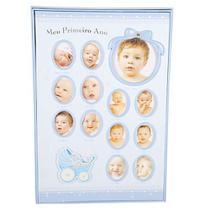 Álbum do bebê 100 Fotos 15x21- Meu primeiro ano baby Azul - Square center