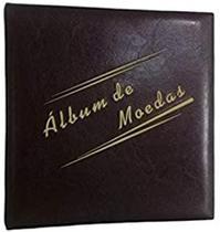 Álbum  Fichário Marrom Grande com 4 Argolas para 200 moedas - Loja Do Colecionador
