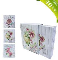 Álbum Flores e Glitter c/ Caixa Protetora p/ 40 Fotos 10x15 - Fwb