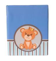 Álbum Fotográfico 20x25 - 80 Fotos- URSO LISTRA - Azul Bebê Infantil - Photo Álbum Universal
