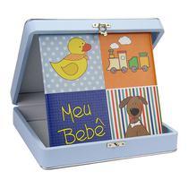 Álbum Fotográfico Diário do Bebê 100 Fotos 20x25 Azul - 78483 - Tudoprafoto