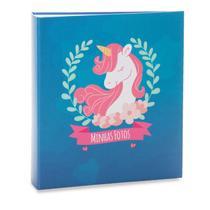 Álbum infantil rebites 300 fotos 10x15 ical unicornio azul -