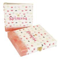 Álbum Maleta Luxo Princesa Coroas Rosa 100 Fotos 13x18 Ou 15x21 ou 20x25 + Diário - Álbuns E Fotos