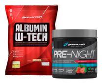 Albumin W-tech 500g Albumina com Whey + Pré Night Treino Noturno Bodyaction -