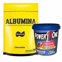 Albumina - 500g Refil Chocolate + Pasta de Amendoim Chocolate com Avelã - 1005g - Power One - Naturovos