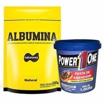 Albumina - 500g Refil Natural + Pasta de Amendoim Chocolate com Avelã - 1005g - Power One - Naturovos