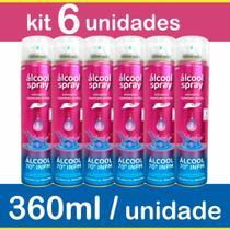 Alcool 70 Spray Kit 6 Frascos Antisséptico Higienizante 360ml - Aerossol - Chesy
