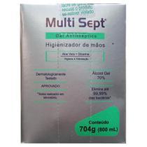 Álcool em Gel Multisept Antisséptico Higienizante para as Mãos Refil 800ml. Para Saboneteira Plus Line Trilha. -
