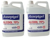 Álcool líquido 70%  5 litros 2 Galões - Marca Asseptgel, fabricante Start. -