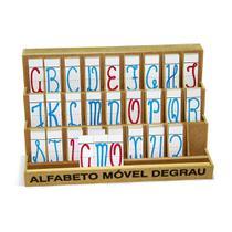 Alfabeto móvel  degrau cursivo - MDF - 130 peças - PVC enc. - Carlu brinquedos