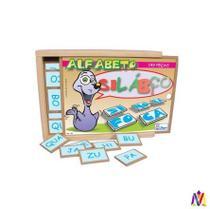Alfabeto Silábico Com 149 Peças Caixa Madeira Simque -