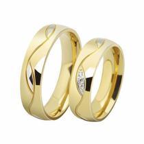 Aliança De Aço Noivado Casamento Banhado Ouro 18k Anatômica - Outlet