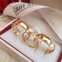 Aliança Tradicional Casamento banhada a Ouro 18k 6mm AL8082- S/anel solitário - Believe jóias
