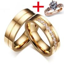 Alianças Banhada Ouro 18k Casamento Tradicional Noivado Anel + solitário - Jewelery