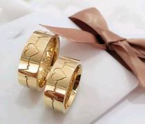 Alianças Moeda Casamento Banhada  18k Anatômica Tradicional - Jewelery