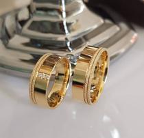 Alianças Ouro Casamento Banhada  18k Anatômica Tradicional Moeda - Jewelery