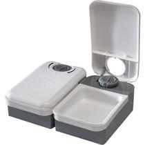 Alimentador Automático Eatwell para Cães e Gatos, programação de 2 Refeições - Branco Cinza - Amicus -