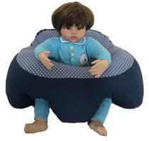 Almofada Apoio Segura Bebê Sentar Puff Berço Portatil Azul Gotas - Dindinha Kids
