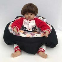 Almofada Apoio Segura Bebê Sentar Puff Berço Portatil Céu Cinza - Dindinha Kids
