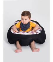 Almofada Apoio Segura Bebê Sentar Puff Berço Portatil Cinza Ursinho - Dindinha Kids