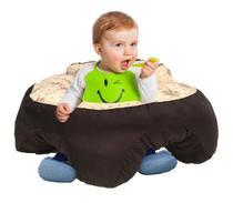 Almofada Apoio Segura Bebê Sentar Puff Berço Portatil Coroa Bege - Dindinha Kids
