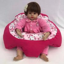 Almofada Apoio Segura Bebê Sentar Puff Berço Portatil Rosa - Dindinha Kids