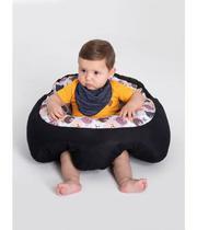 Almofada Apoio Segura Bebê Sentar Puff Berço Portatil Urso e Preto - Dindinha Kids