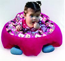 Almofada Apoio Segura Bebê Sentar Puff Berço Portatil Urso Rosa - Dindinha Kids