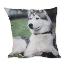 Almofada Cachorro Husk Siberiano Branco 42x42cm Uniart -