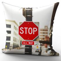 Almofada Completa 40x40cm Placa Stop - Fastvenda
