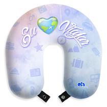 """Almofada de pescoço """"Eu amo viajar"""" travesseiro apoio para viagem e descanso com botão - Eba"""