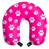 Almofada de pescoço patinhas travesseiro rosa apoio para viagens e descanso com botão - Eba