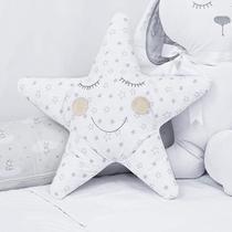 Almofada Decorativa 300 Fios Estrela Feliz Branca e Cinza - Aime