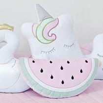 Almofada Decorativa Percal 300 Fios Melância Rosa e Verde - Aime