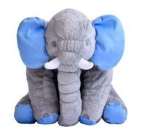 Almofada Elefante Cinza Com Azul De Pelúcia Soft 50cm Para Bebê Fofinho - Império Do Bebê