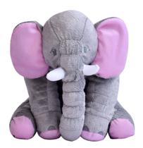 Almofada Elefante Cinza Com Rosa De Pelúcia Soft 50cm Para Bebê Fofinho - Império Do Bebê