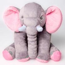 Almofada Elefante Pelúcia Cinza com Rosa - Talismã