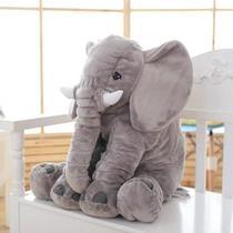 Almofada Elefante Pelúcia Travesseiro Para Bebê Dormir Cinza 62cm - Babys Fraldas